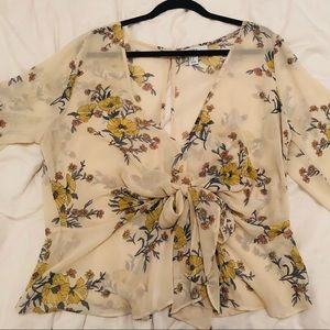 Sheer Forever 21 Floral Top Size 1X